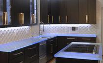Piano di lavoro in vetro / da cucina / antibatterico / antimacchia
