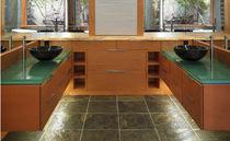 Piano lavabo in vetro / ad uso professionale / su misura / riciclato