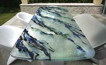 Tavolo da pranzo moderno / in vetro / rettangolare / da esterno