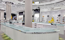 Banco reception luminoso / d'angolo / in vetro / professionale