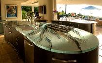 Piano di lavoro in vetro / da cucina / antimacchia / resistente al calore