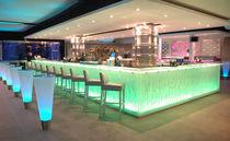 Bancone da bar / in vetro / a L / luminoso