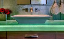 Piano lavabo in vetro / su misura / retroilluminato