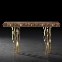 Consolle design originale / in legno massiccio / in noce americano / in nichel