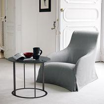 Tavolo d'appoggio moderno / in marmo / in fibra di legno / rotondo