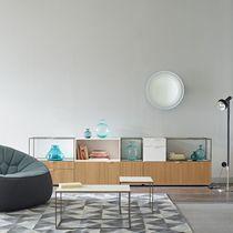 Tavolino basso moderno / in gres porcellanato / in acciaio / rettangolare