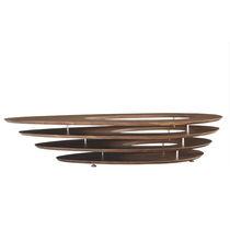 Tavolino basso moderno / in noce / in MDF laccato / in acciaio cromato