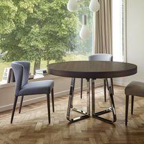 Tavolo da pranzo moderno / in legno / in gres porcellanato / in acciaio cromato
