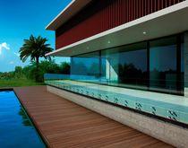 Ringhiera da esterno / in alluminio / a pannello in vetro / per balcone
