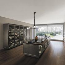 Cucina moderna / in vetro / in metallo / con isola