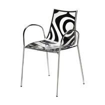 Sedia moderna / con braccioli / impilabile / in acciaio cromato