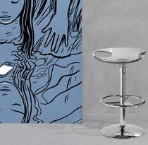 Sgabello da bar moderno / in acciaio cromato / in policarbonato / girevole