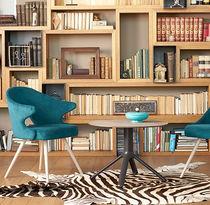 Tavolo d'appoggio moderno / in legno / in alluminio / rotondo