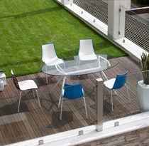 Tavolo moderno / in vetro / in acciaio laccato / in alluminio laccato