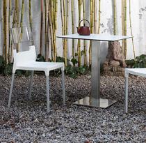 Tavolo da bistrot moderno / in acciaio / in acciaio inossidabile / in vetro
