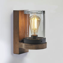 Applique moderna / in teak / LED / rotonda