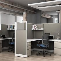Divisorio per ufficio a pavimento / da bancone / in tessuto / in vetro