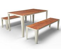 Set tavolo e panca moderno / in metallo / in MDF stratificato / da esterno