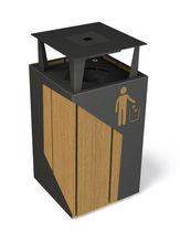 Pattumiera pubblica / in legno / con portacenere integrato / moderna