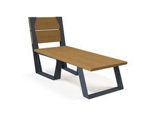 Chaise longue moderna / in legno / da esterno / per spazi pubblici