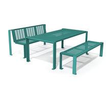 Set tavolo e panca moderno / in metallo / per esterni / per spazio pubblico
