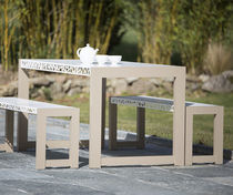 Set tavolo e panca moderno / in alluminio / da giardino / da esterno