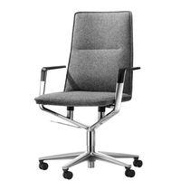 Sedia da ufficio moderna / in tessuto / in pelle / in metallo cromato