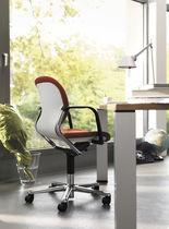 Sedia da ufficio moderna / in tessuto / in pelle / in acciaio lucido