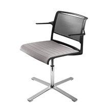 Sedia visitatore moderna / in alluminio / con rotelle / girevole