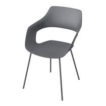 Sedia visitatore moderna / in tessuto / in metallo cromato / imbottita