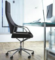 Poltrona da ufficio moderna / in tessuto / in pelle / in metallo cromato