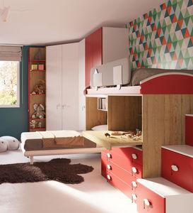 cameretta blu per bambini / rossa / in legno laccato / unisex