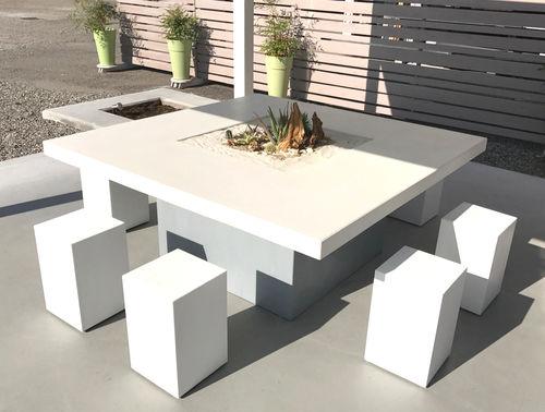 tavolo moderno / in metallo / in cemento armato / rettangolare