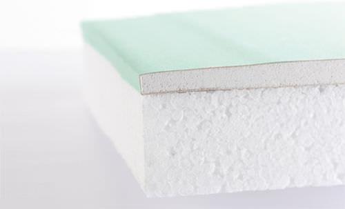isolante accoppiato idrofugo / anima in polistirene espanso / rivestimento in cartongesso