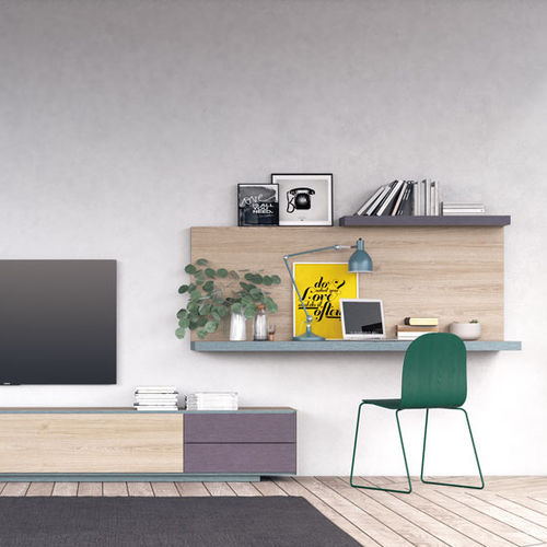 scrivania in legno / moderna / con ripiano / a muro