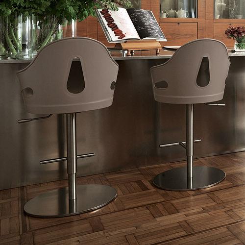 sedia alta moderna / ad altezza regolabile / con base centrale / in pelle