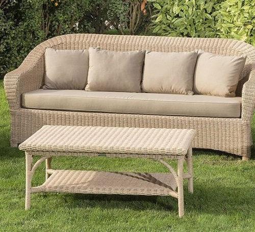 tavolino basso moderno / in resina intrecciata / rettangolare / da giardino