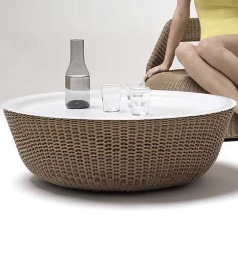 tavolino basso moderno / in resina intrecciata / tondo / da giardino