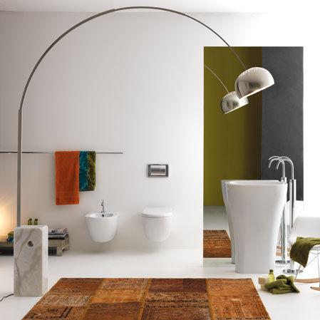 lavabo da terra / ovale / in ceramica / moderno