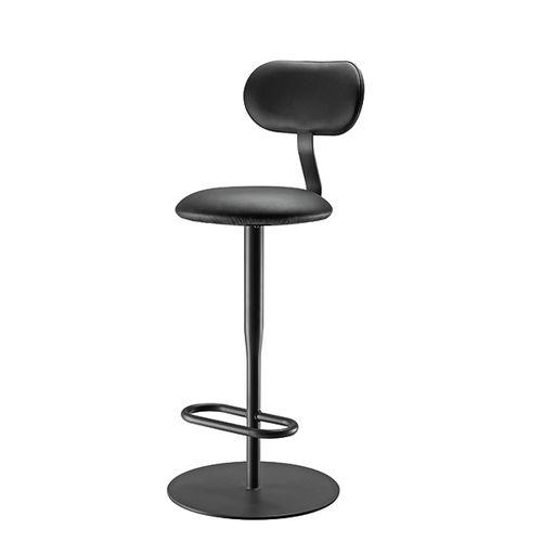 sedia alta moderna / con poggiapiedi / in acciaio / in tessuto