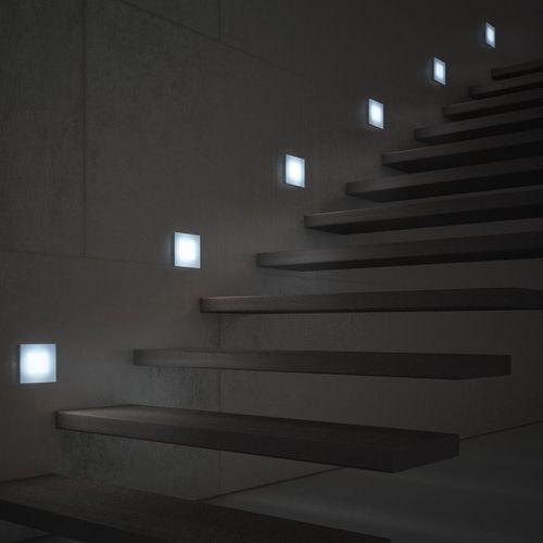 luce da incasso a muro / LED / quadrata / polimerica