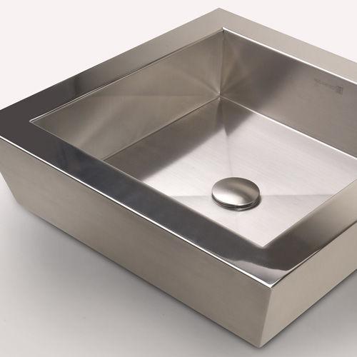 lavabo da appoggio / quadrato / in acciaio inossidabile / moderno