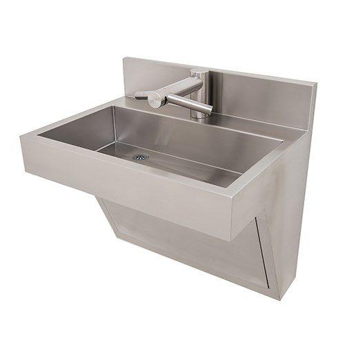 lavabo sospeso / rettangolare / in acciaio inox / moderno