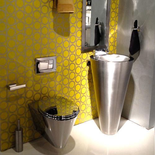 lavabo da terra / tondo / in acciaio inossidabile / moderno