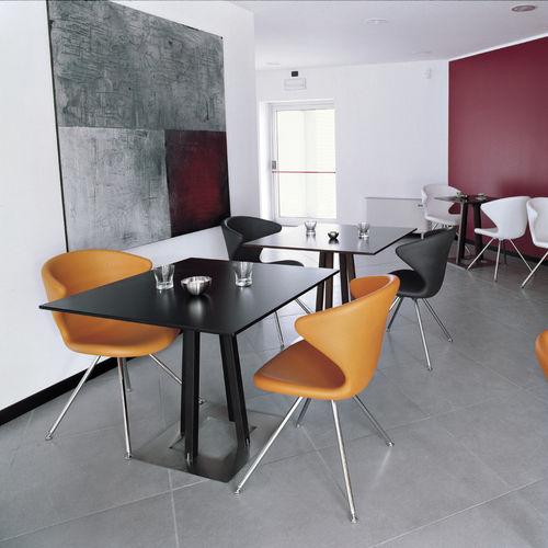 tavolo moderno / in faggio / in acciaio inossidabile / quadrato