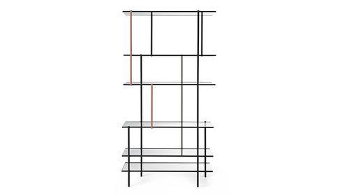 scaffale moderno / in alluminio / in vetro / con rivestimento in vetro temperato