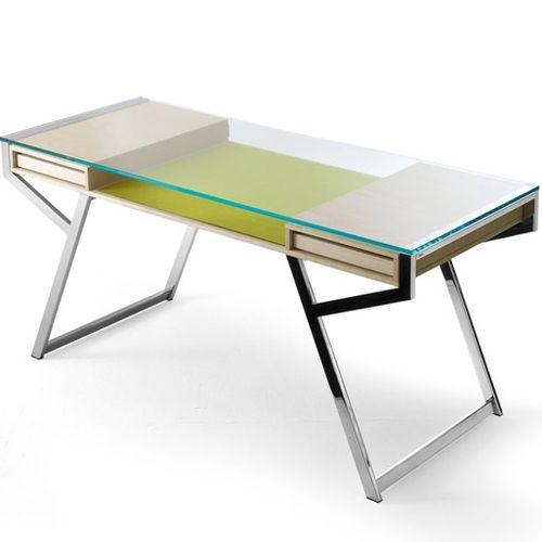 scrivania in frassino / in acciaio inox / in vetro / moderna