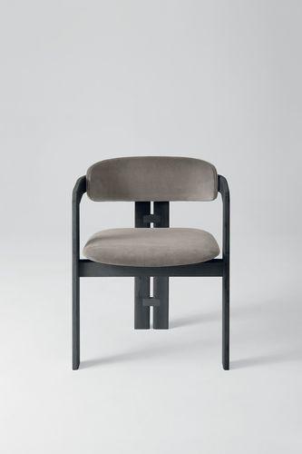 sedia moderna / imbottita / con braccioli / in velluto