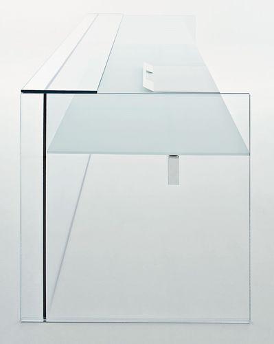 banco reception in acciaio inox / in vetro