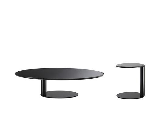 tavolino basso moderno / in metallo / in metallo laccato / tondo